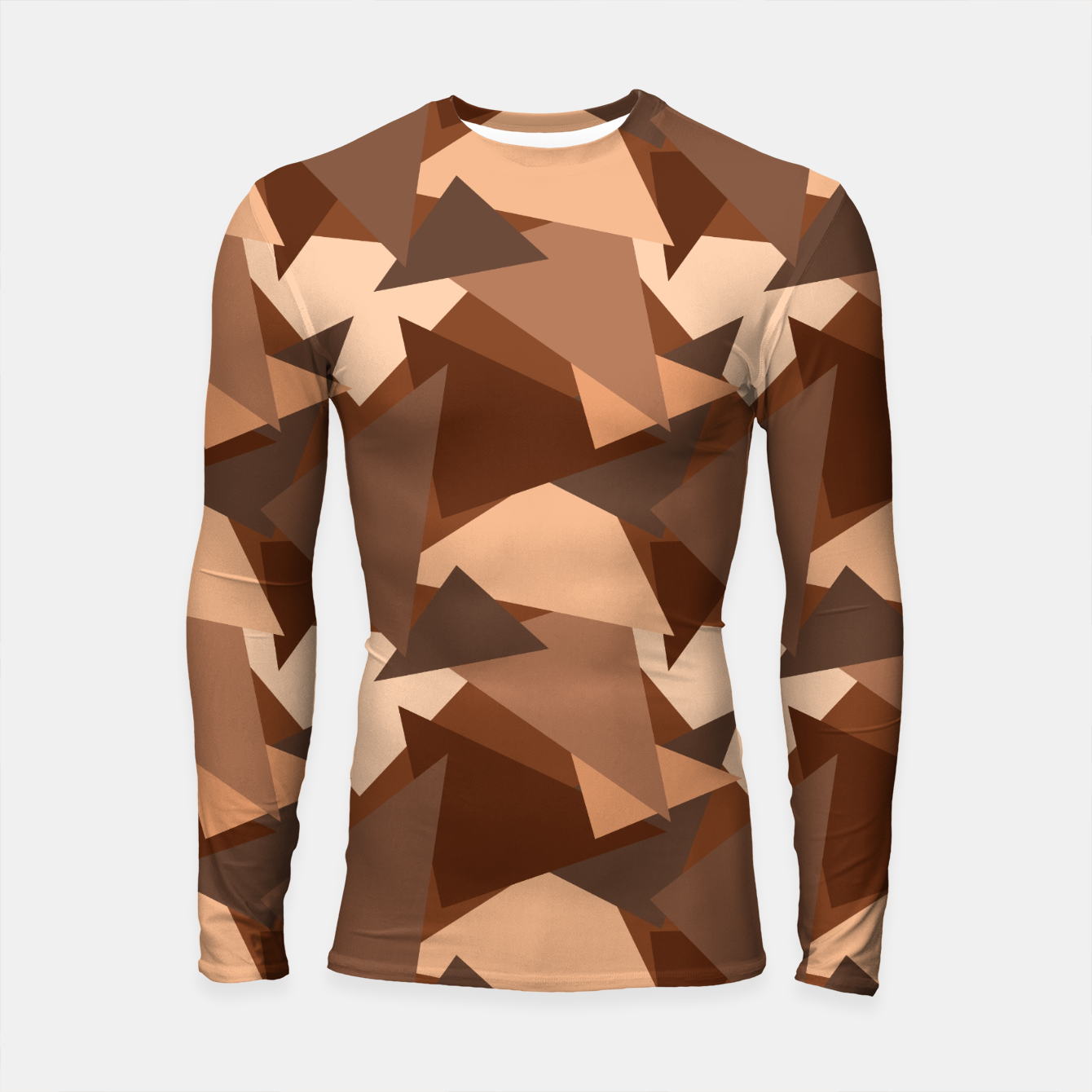 Image of Brown Chocolate Caramel  Triangles (Camouflage) Longsleeve rashguard  - Live Heroes