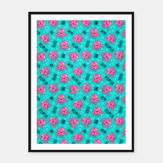 Thumbnail image of Japanese kawaii pattern Framed poster, Live Heroes
