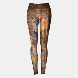 Thumbnail image of Tarnished Wedding Silverware Orange Grey Graphic Print Grunge Leggings, Live Heroes