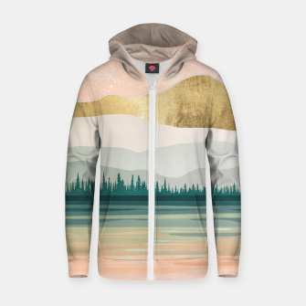 Spring Forest Lake Cotton zip up hoodie miniature