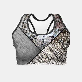 Miniaturka Birch Bark and Graphic Brushed Silver Metal Printed Yoga Crop Top, Live Heroes