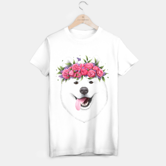 Thumbnail image of Samoyed with flowers T-shirt regular, Live Heroes