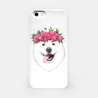 Miniaturka Samoyed with flowers iPhone Case, Live Heroes