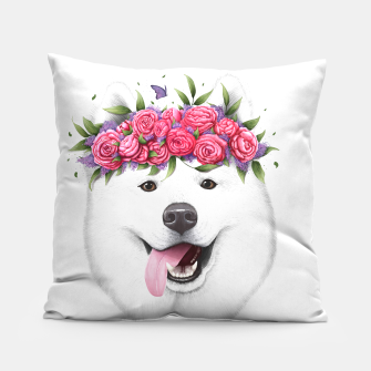 Thumbnail image of Samoyed with flowers Pillow, Live Heroes
