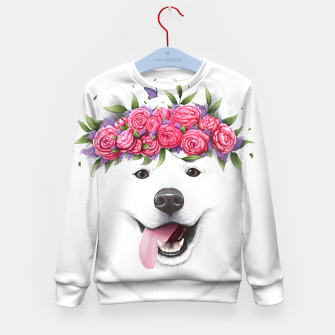 Thumbnail image of Samoyed with flowers Kid's sweater, Live Heroes