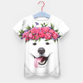 Imagen en miniatura de Samoyed with flowers Kid's t-shirt, Live Heroes