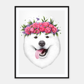 Thumbnail image of Samoyed with flowers Framed poster, Live Heroes
