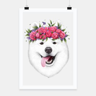 Miniaturka Samoyed with flowers Poster, Live Heroes