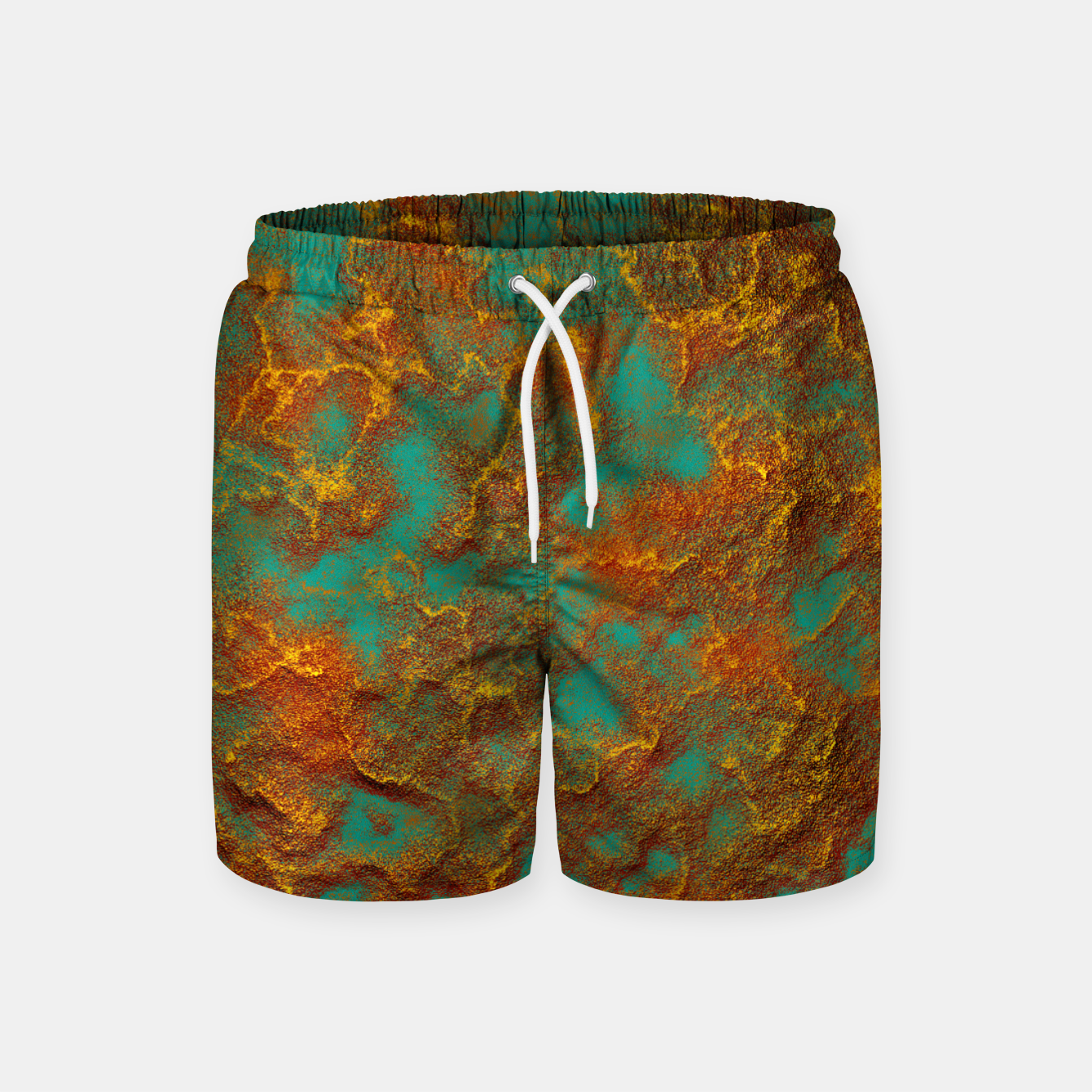 2c17b907f96 Image of Graphic Copper and Teal Rock Pattern Print Swim Shorts - Live  Heroes