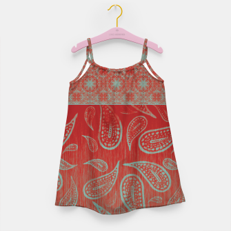 Thumbnail image of Red and Teal Paisley Gothic Mandala Boho Chic Little Girl's Dress, Live Heroes