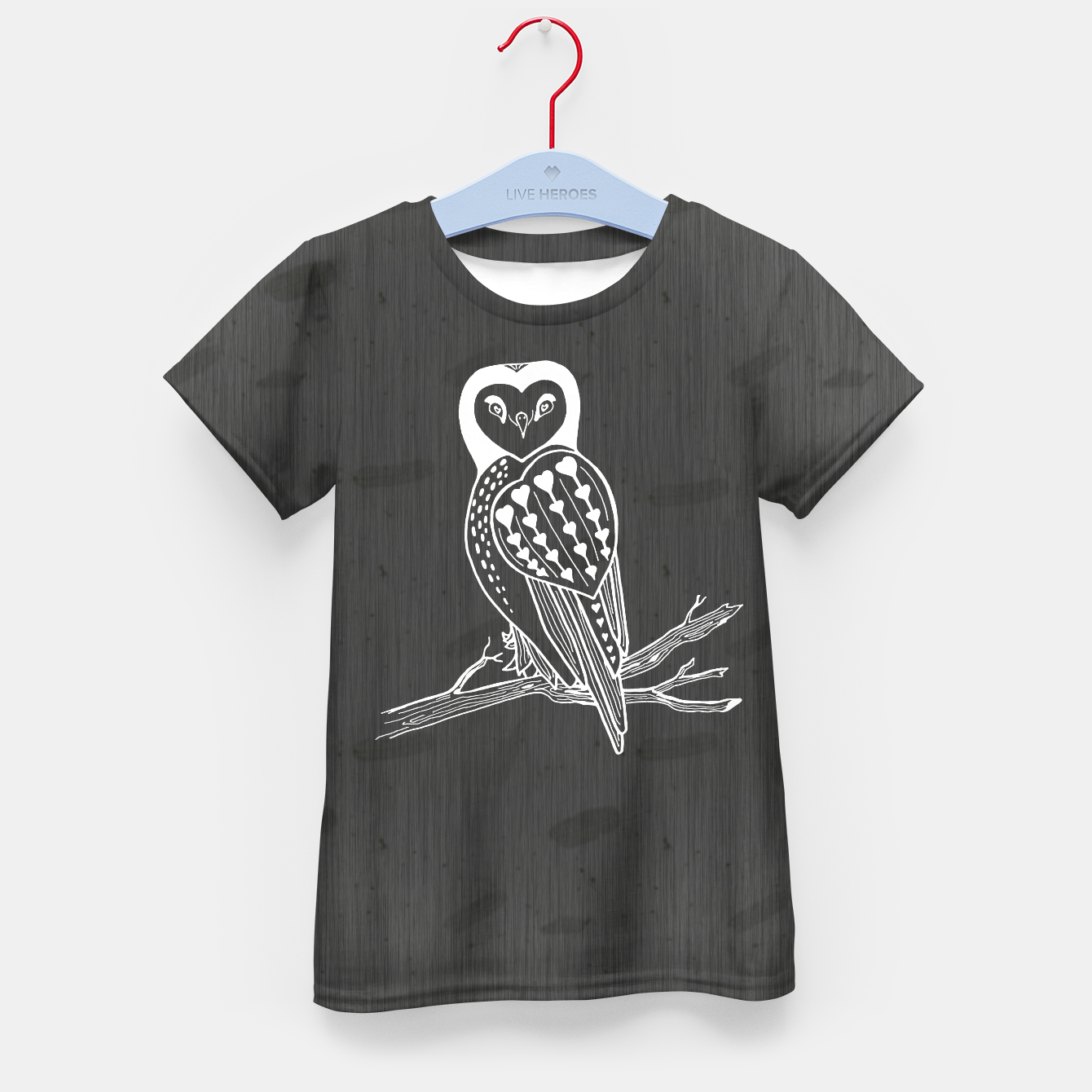 de3a6416faa Image of White Heart Owl on Branch Charcoal Grey Mottled T-Shirt - Live  Heroes