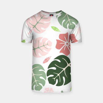 Thumbnail image of Tropical leaves Monstera deliciosa White T-shirt, Live Heroes