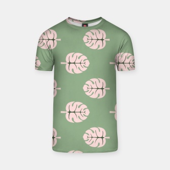Thumbnail image of Tropical leaves Monstera deliciosa pink and green #tropical T-shirt, Live Heroes