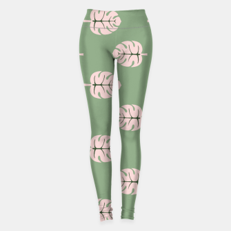 Miniaturka Tropical leaves Monstera deliciosa pink and green #tropical Leggings, Live Heroes