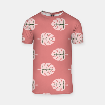 Thumbnail image of Tropical leaves Monstera deliciosa pink and flamingo #tropical T-shirt, Live Heroes
