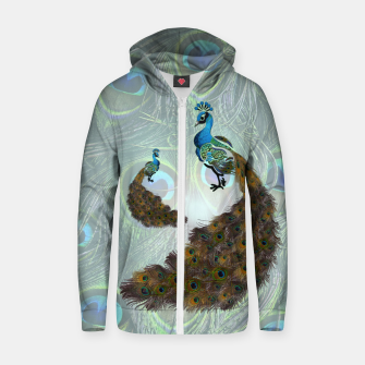 Thumbnail image of Peacock feathers bird Cotton zip up hoodie, Live Heroes