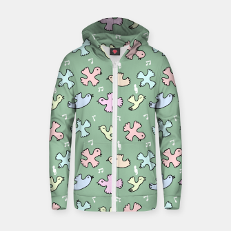 Thumbnail image of Singing Bird Cotton zip up hoodie, Live Heroes