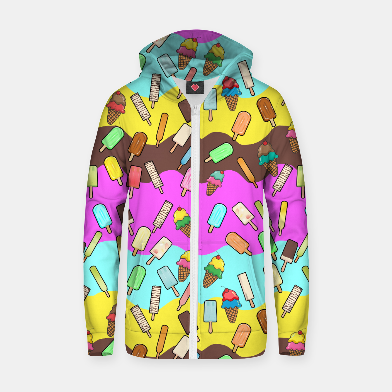 Image of Ice Cream Treats Cotton zip up hoodie - Live Heroes