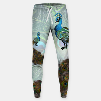 Thumbnail image of Peacock feathers bird Cotton sweatpants, Live Heroes