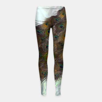 Thumbnail image of Peacock feathers bird Girl's leggings, Live Heroes