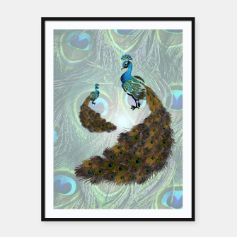 Thumbnail image of Peacock feathers bird Framed poster, Live Heroes