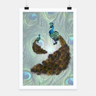 Thumbnail image of Peacock feathers bird Poster, Live Heroes