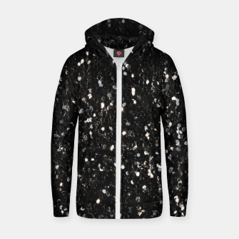 Miniaturka Black and white shiny glitter sparkles Cotton zip up hoodie, Live Heroes