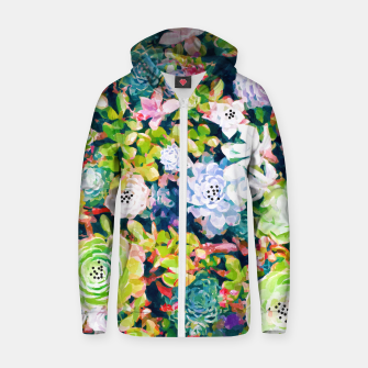 Thumbnail image of Watercolor Succulents Cotton zip up hoodie, Live Heroes