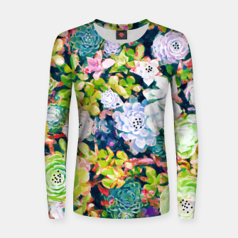 Thumbnail image of Watercolor Succulents Woman cotton sweater, Live Heroes