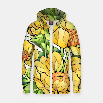 Miniature de image de Yellow Flowers Cotton zip up hoodie, Live Heroes