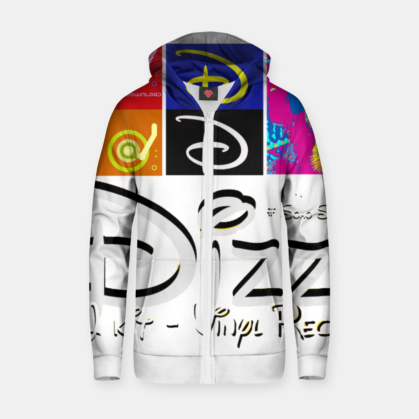 Image of Dizz Records Cotton zip up hoodie - Live Heroes