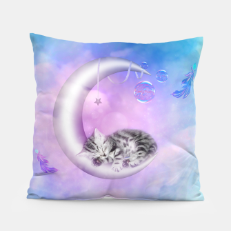 Cute little sleeping kitten Pillow thumbnail image