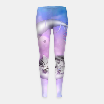 Thumbnail image of Cute little sleeping kitten Girl's leggings, Live Heroes