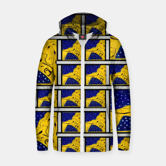 Thumbnail image of Pattern FOUR Original  Cotton zip up hoodie, Live Heroes