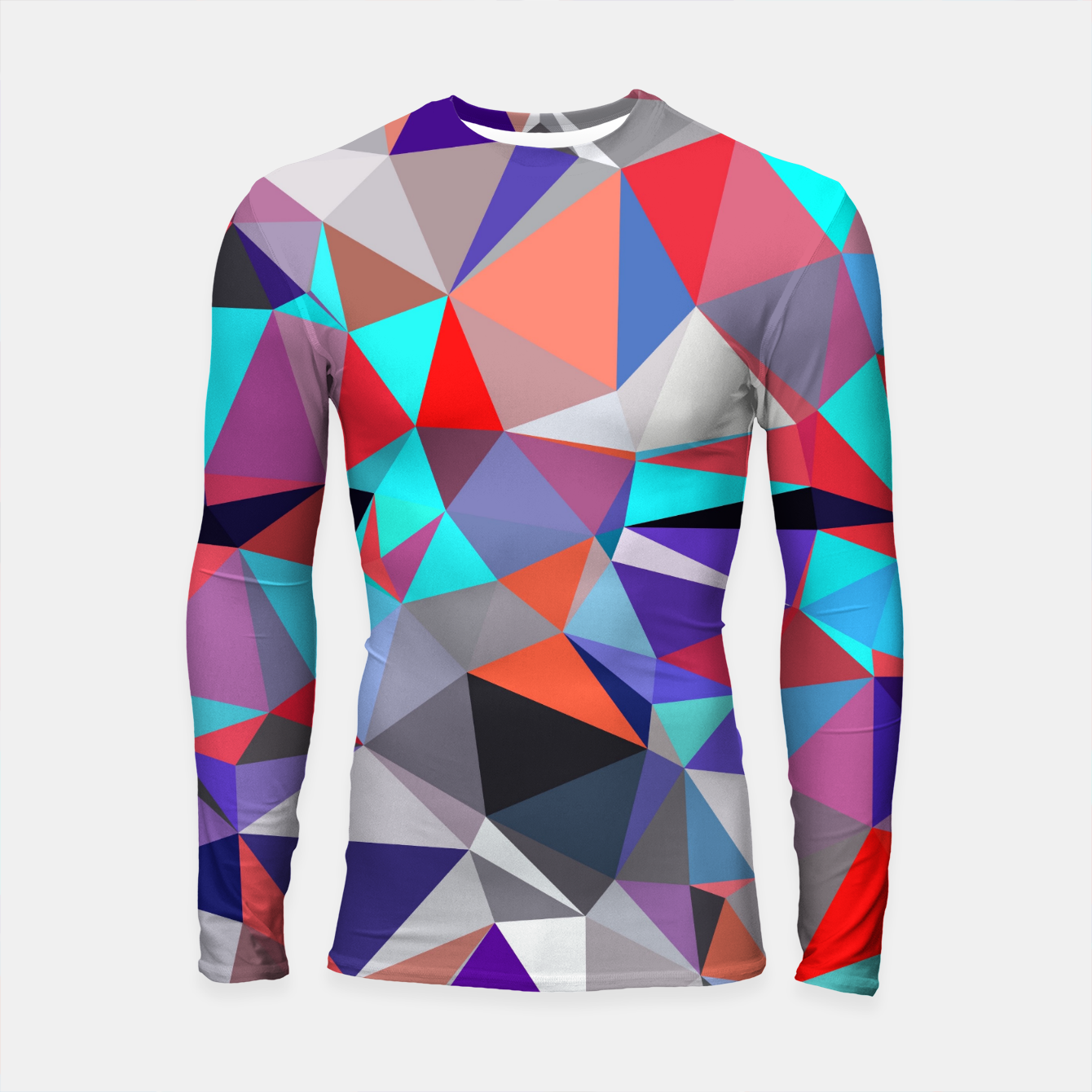 d0078ddf269e Image of geometric triangle polygon pattern abstract background in red blue  purple Longsleeve rashguard - Live
