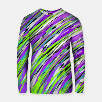 Thumbnail image of curly line pattern abstract background in purple and green Cotton sweater, Live Heroes