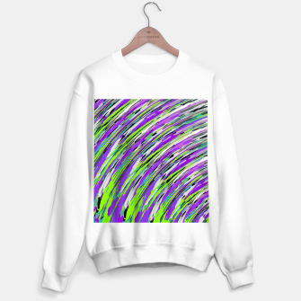 Thumbnail image of curly line pattern abstract background in purple and green Sweater regular, Live Heroes
