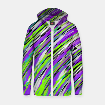 Thumbnail image of curly line pattern abstract background in purple and green Cotton zip up hoodie, Live Heroes