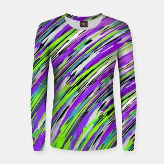 Thumbnail image of curly line pattern abstract background in purple and green Woman cotton sweater, Live Heroes
