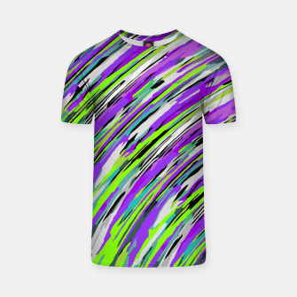 Thumbnail image of curly line pattern abstract background in purple and green T-shirt, Live Heroes