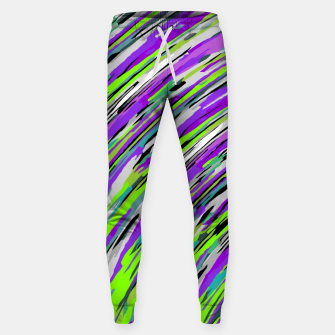 Thumbnail image of curly line pattern abstract background in purple and green Cotton sweatpants, Live Heroes