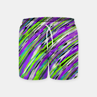 Thumbnail image of curly line pattern abstract background in purple and green Swim Shorts, Live Heroes