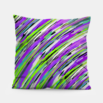 Thumbnail image of curly line pattern abstract background in purple and green Pillow, Live Heroes