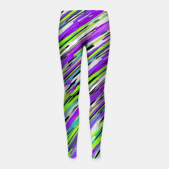 Thumbnail image of curly line pattern abstract background in purple and green Girl's leggings, Live Heroes