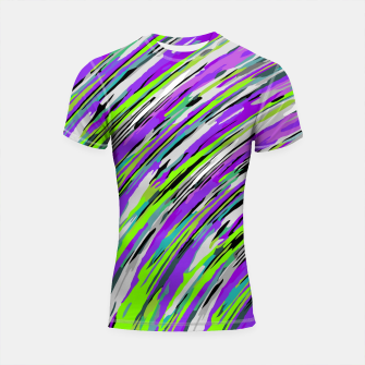 Thumbnail image of curly line pattern abstract background in purple and green Shortsleeve rashguard, Live Heroes