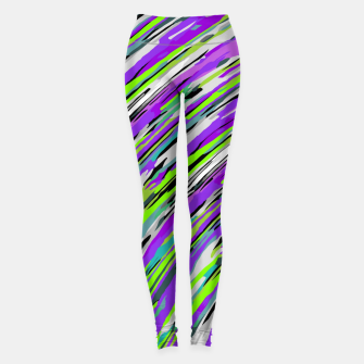 Thumbnail image of curly line pattern abstract background in purple and green Leggings, Live Heroes