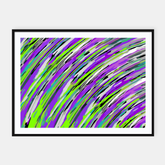 Thumbnail image of curly line pattern abstract background in purple and green Framed poster, Live Heroes