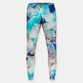 Miniatur psychedelic geometric triangle pattern abstract with painting abstract background in blue and brown Cotton sweatpants, Live Heroes