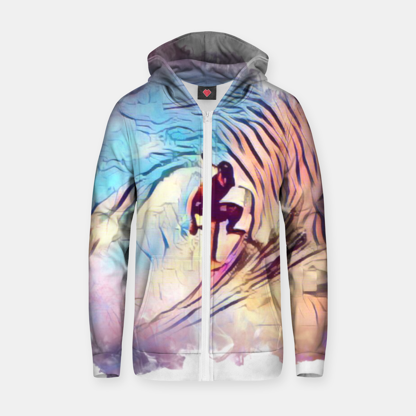 Image of Surfing The Tube 2 Cotton zip up hoodie - Live Heroes