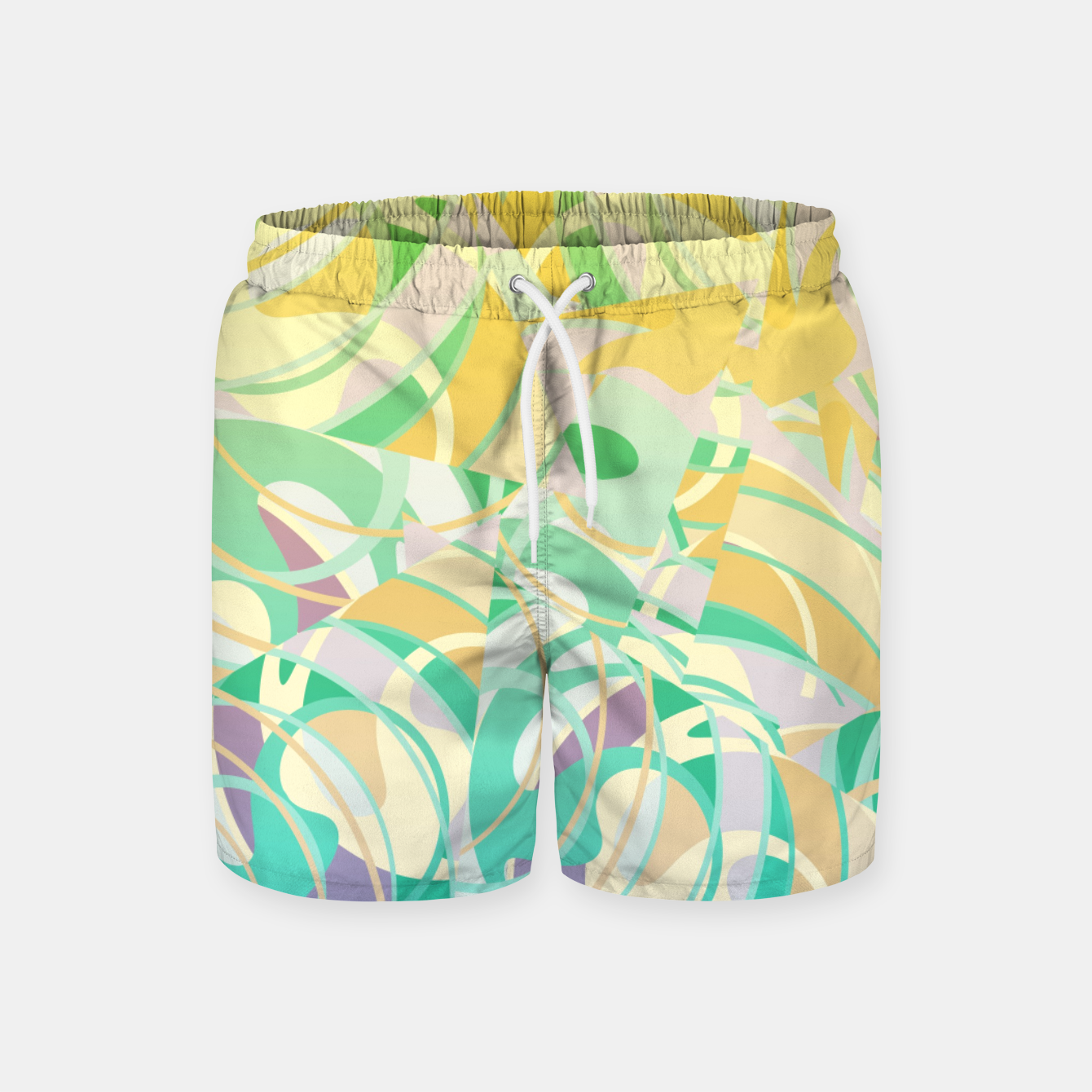 Image of Summer Beach Days Abstract - Yellows And Blues Swim Shorts - Live Heroes